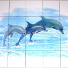 Closeout Dolphin Ceramic Tile Mural 20 pcs of 4.25 Blue Dolphins LARGE Backsplash