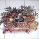 """Fruit Basket 20pcs 4.25"""" Kiln Fired Back Splash Ceramic Tile Mural Decor"""