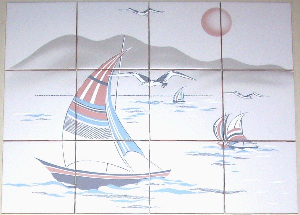 Closeout Sail Boat Ceramic Tile Mural Back splash 12 pcs kiln fired Decor* Plus 7 Accents