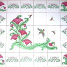 "Hummingbird 30 Piece Ceramic Tile Mural 4.25"" Kiln Fired Pink Flower Decor Bird"