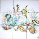"Fish Ceramic Tile Mural Backsplash Star Under Sea 9 piece 4.25"" Backsplash Kiln Fired"