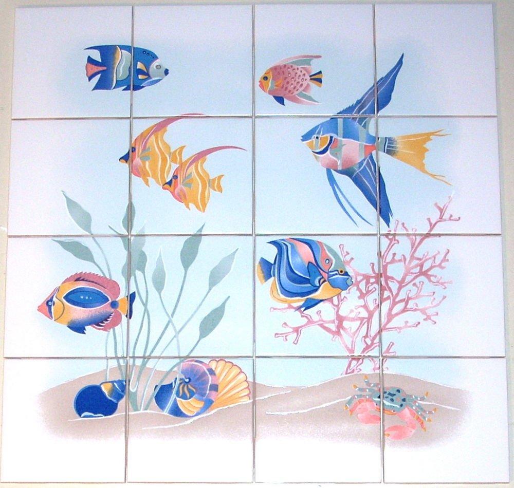 """Blue Fish Ceramic Tile Mural 16 pcs 4.25"""" Kiln Fired Back Splash Nautical Decor"""