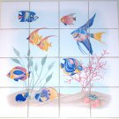 "Blue Fish Ceramic Tile Mural 16 pcs 4.25"" Kiln Fired Back Splash Nautical Decor"