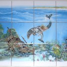 "Mermaid Ceramic Tile Mural Dolphin Treasure Ship Fish  12 of 4.25"" Kiln Fired"