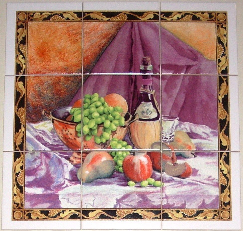 "Closeout Wine and Fruit Ceramic Tile Mural   9pcs 4.25"" x 4.25""  Kiln Fired Purple Orange"