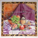 "Closeout Wine and Fruit Ceramic Tile Mural   9pcs 4.25"" x 4.25""  Kiln Fired Purple Orange"