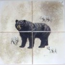 "BEAR Ceramic Tile Mural 4 of 6"" Size 12"" x 12"" Back Splash Wild Life Decor"