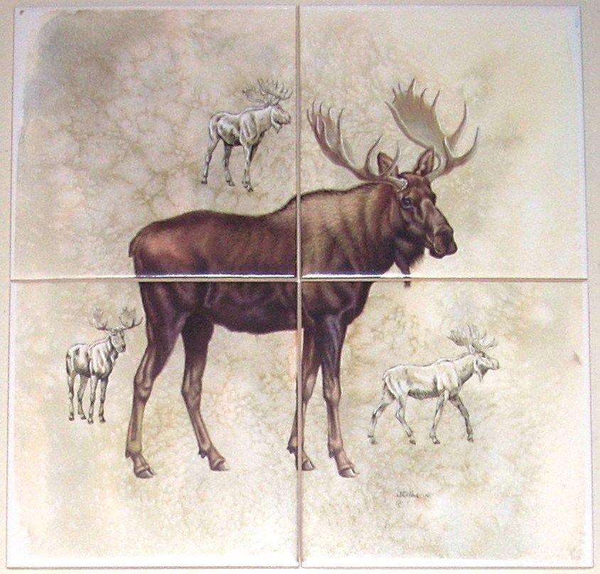 "Moose Ceramic Tile Mural 4 of 6"" Size 12"" x 12"" Back Splash Wild Life Decor"