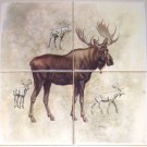"Moose Ceramic Tile Mural 4 of 6"" Size 12"" x 12"" Back Splash Wild Life Decor"