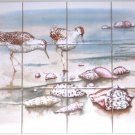 "Closeout Sandpiper Ceramic Tile Mural Sea Bird Ocean  Back Splash 12pcs 4.25"" Kiln Fired"