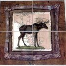 "The Moose Ceramic Tile Mural 4 pc of 6"" Alaskan Back splash Kiln Fired"