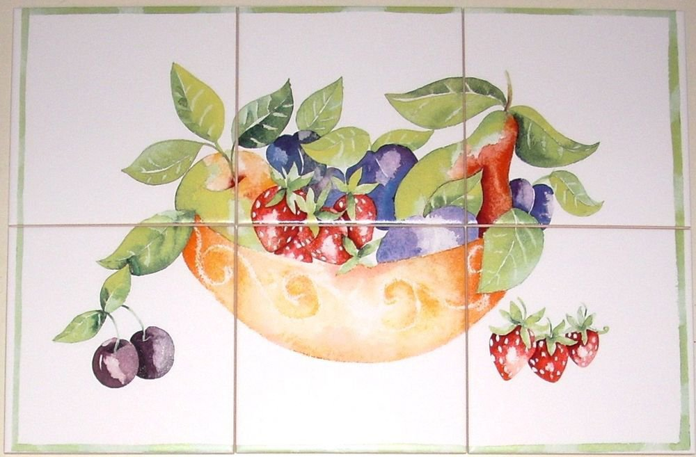 "Fruit Dish Ceramic Tile Mural 6pcs of 6""  Kiln Fired Pear Strawberry Back Splash"