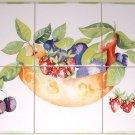 "Fruit Dish Ceramic Tile Mural 6pcs of 6""  Kiln Fired Pear Strawberry Back Splash"