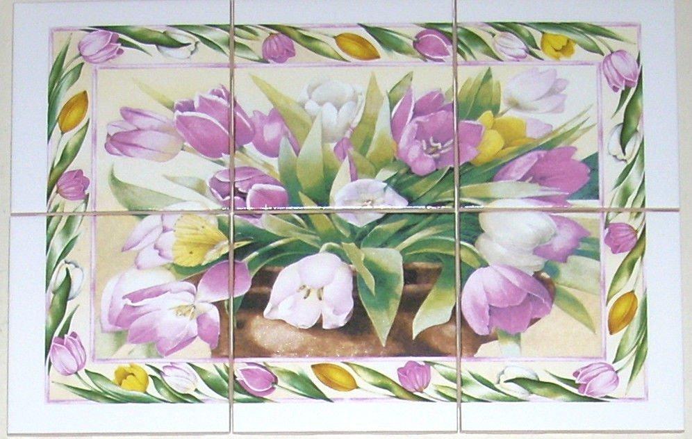 "CLOSEOUT Tulip Flower Ceramic Tile Mural Pink  6pc 4.25"" Back Splash Kiln Fired"