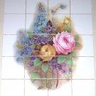"Rose Ceramic Tile Mural Violets Yellow Pink  20 pcs 4.25"" Back splash Decor"