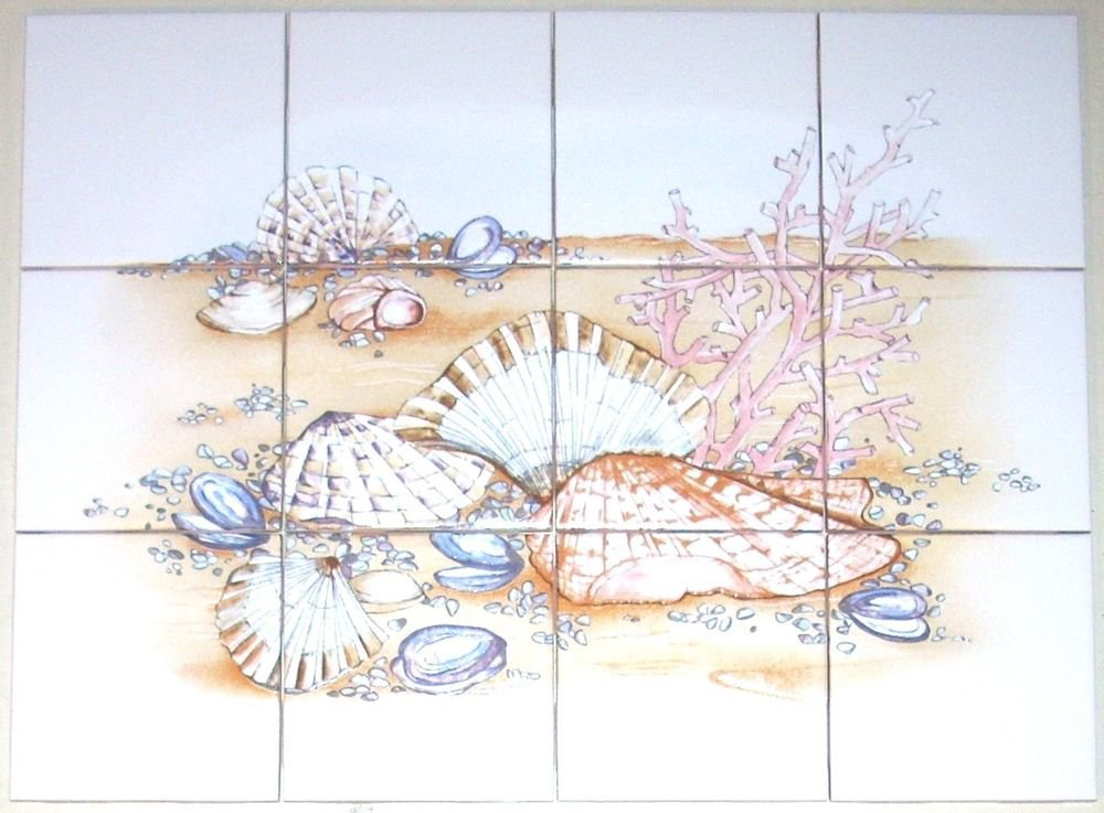 "Sea Shell Clams Ceramic Tile Mural 12pcs 4.25"" Coral Back Splash Kiln Fired"