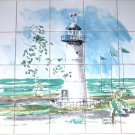 "Closeout Light House Ceramic Tiles Mural 20p 4.25"" Lighthouse Backsplash Kiln Fired Decor"