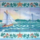 Closeout Sea Shell Ceramic Tile Mural  24Pc Back splash Boat Light House Fish  Kiln Fired