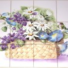 "closeout Hummingbird Ceramic Tile Mural Daisy Morning Glory Violets 12pc 4.25"" Kiln Fired"