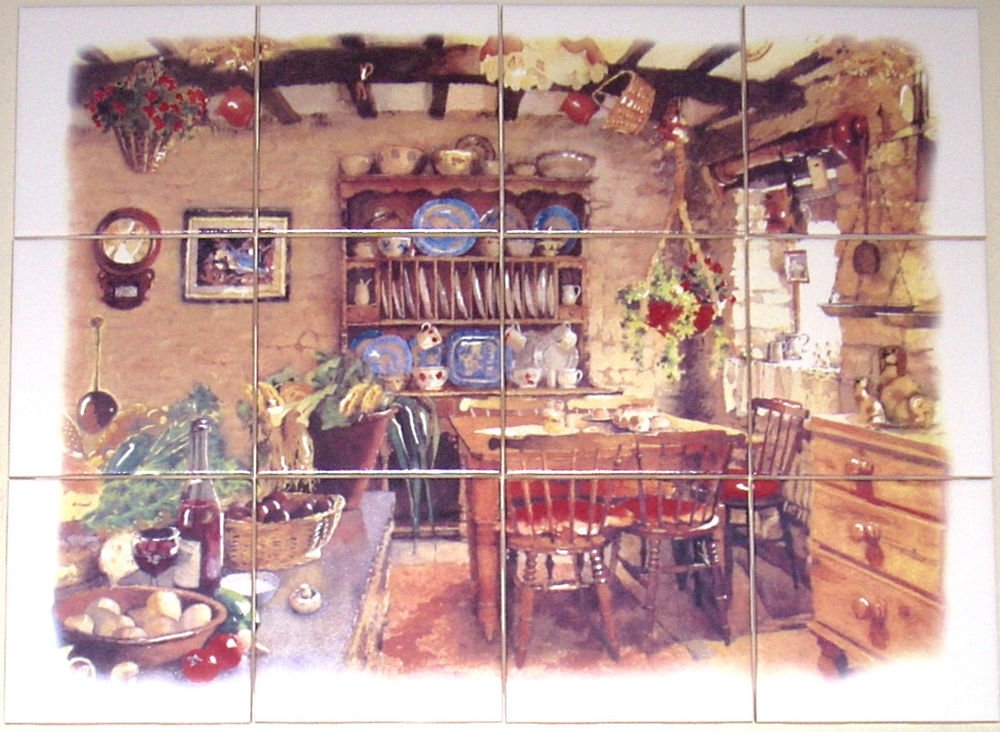 "Antique Kitchen Ceramic Tile Mural Back Splash 12pcs 4.25"" Kiln Fired BISCUIT"