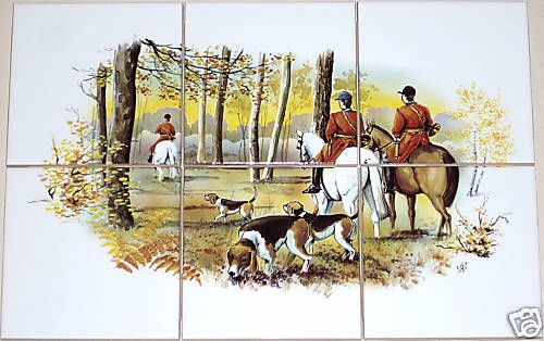 "Equestrian Ceramic Tile Mural 6pc 4.25"" Tiles Horse Fox Hunt and Hound Scene"