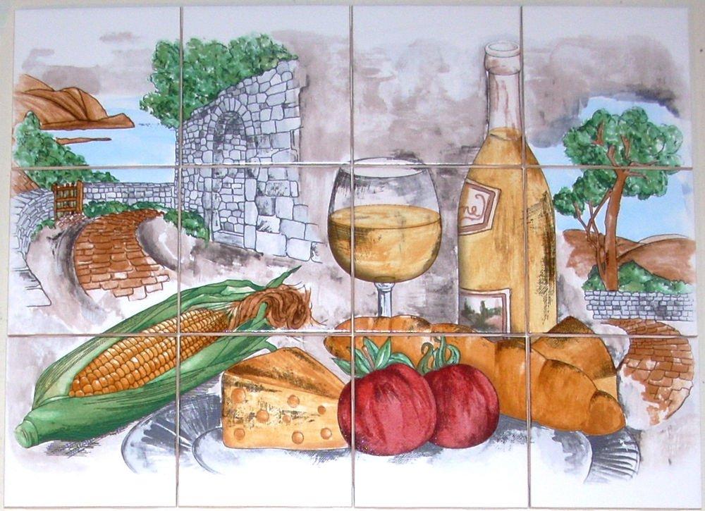 CLOSEOUT Wine Ceramic Tile Mural Backsplash White Wine Corn Tomato Country 12 pc of 4.25