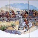 "Stagecoach Ceramic Tile Mural Western Horses 6pcs 4.25"" Backsplash Kiln Fired"