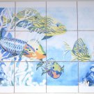 "Tropical Fish Ceramic Tile Mural 12 of 4.25"" Kiln Fired Back Splash Decor"