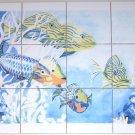 "Tropical Fish Ceramic Tile Mural 12 of 4.25"" Kiln Fired Back Splash Decor"