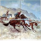 "Remington Horse Ceramic Tile Mural 4 of 6"" Western Rustlers Cowboys Backsplash"