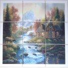"""Elk Cabin Ceramic Tile Mural Back Splash 9pcs 4.25"""" Woods Stream Kiln Fired"""
