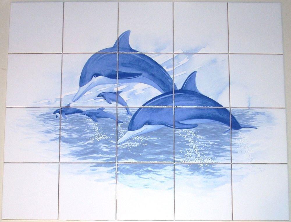 Blue dolphin ceramic tile mural 20pcs kiln fired for Dolphin tile mural