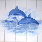 "Closeout Blue Dolphin Ceramic Tile Mural 20pcs 4.25"" Kiln Fired Back Splash Decor"