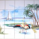 "Flamingo Ceramic Tile Mural Kiln Fired Palms Ocean 20 pcs 4.25"" Tropical Decor"