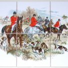 English Fox Hunt Ceramic Tile Mural Red Coat Horse Hound Dogs Kiln Fired
