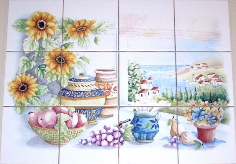"Sunflower Ceramic Tile Mural Ocean View 12pc 4.25"" Backsplash Kiln Fired"