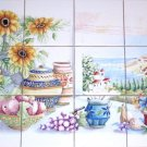 "Closeout Sunflower Ceramic Tile Mural Ocean View 12pc 4.25"" Backsplash Kiln Fired"