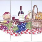 "CLOSEOUT Wine Cheese Ceramic Tile Mural Kiln Fired 6pcs 4.25"" Decorated Back Splash Decor"