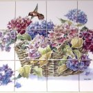 "Humming Bird Hydrangea Basket Ceramic Tile Backsplash 12pc of 4.25"" x 4.25"""