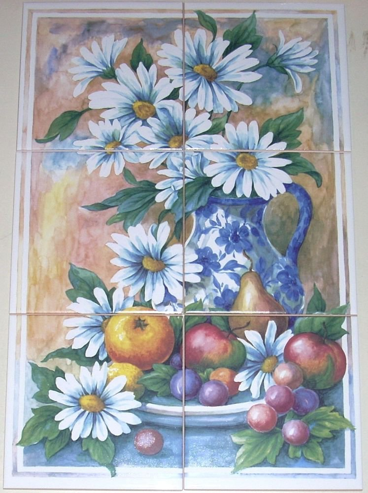 Daisy blue delft ceramic tile mural backsplash 6pc of 6 for Delft tile mural
