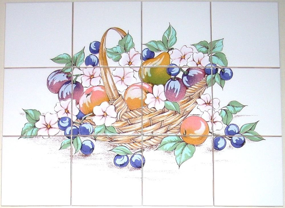 "Fruit & Flower Basket Ceramic Tile Mural Back Splash 12pc 4.25"" Kiln Fired Decor"