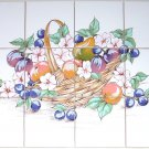 "Closeout Fruit & Flower Basket Ceramic Tile Mural Back Splash 12pc 4.25"" Kiln Fired Decor"