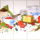"Pasta Ceramic Tile Mural Tomato Cheese 15 pcs of 4.25"" Backsplash Kiln Fired"