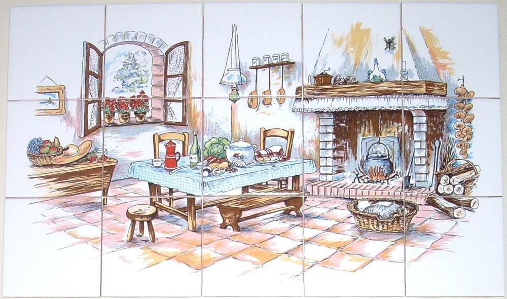 "Kitchen with Hearth Ceramic Tile Mural 15 pcs 4.25"" Kiln Fired Back Splash Decor"