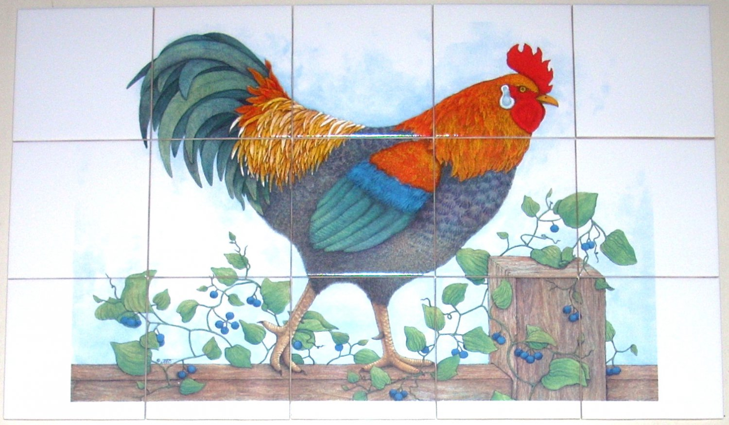 """Closeout Rooster Ceramic Tile Mural 15pcs. 4.25"""" x 4.25"""""""