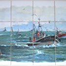 Closeout Light-House-Boat-Ceramic-Tile-Mural-Guilvinec-12pc-