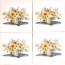 "Sunflower Water Can Ceramic Tile 4.25"" Flower KilnFired Decor Kitchen SET OF 4"