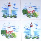"CLOSEOUT White Light House Ceramic Accent Tiles 4.25"" Lighthouse Backsplash Kiln Fired"