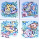"Closeout Fish Ceramic Tile Tropical Colors set 4 of 4.25"" x 4.25"" Kiln fired BackSplash"