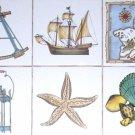 "Nautical CeramicTile Set of 6 Star Fish Compass Ship Map Lantern 4.25"" Kilnfired"